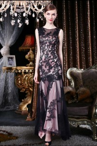 Mermaid Sleeveless Keyhole Back Ankle Length Black Lace Special Occasion Evening Dress