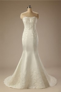 Mermaid Strapless Ivory Satin Embroidery Pearl Beaded Wedding Dress