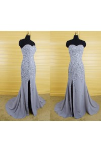 Mermaid Strapless Sweetheart Long Grey Chiffon Beaded Prom Dress With Slit