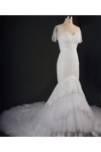 Mermaid Sweetheart Billowing Sleeve Tulle Lace Tiered Wedding Dress With Long Train