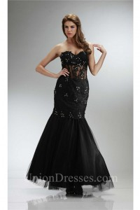 Mermaid Sweetheart Black Tulle Lace Beaded See Through Prom Dress