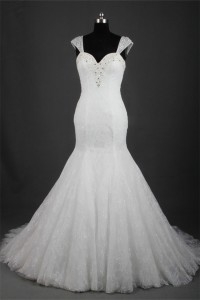 Mermaid Sweetheart Cap Sleeve Lace Beaded Wedding Dress Lace Up Back
