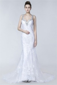 Mermaid Sweetheart Low Back Lace Wedding Dress With Beading Straps