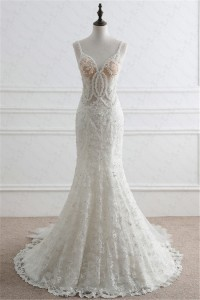 Mermaid Sweetheart Open Back See Through Tulle Lace Beaded Wedding Dress With Straps
