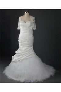 Mermaid Sweetheart Ruched Satin Tulle Ruffle Wedding Dress With Bolero Jacket