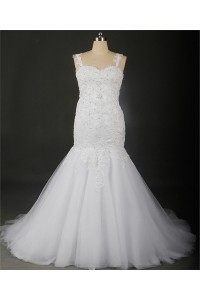 Mermaid Sweetheart Sheer Back Tulle Lace Beaded Plus Size Wedding Dress With Straps