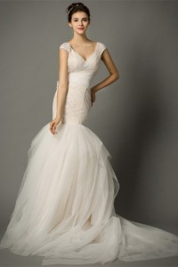 Mermaid V Neck Cap Sleeve Ruched Tulle Fit And Flare Wedding Dress Bow Back