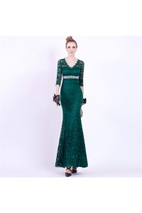 Mermaid V Neck Dark Green Lace Sleeve Special Occasion Evening Dress With Beading Sash