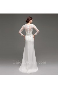 Mermaid V Neck See Through Back Organza Lace Sleeve Wedding Dress With Beading Sash
