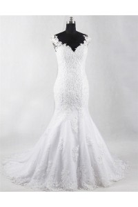 Mermaid V Neck Sheer Back Tulle Lace Wedding Dress With Pearls Buttons