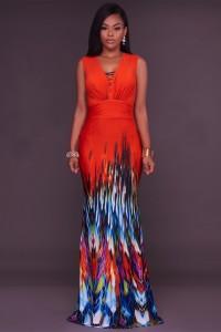 Mermaid V Neck Sleeveless Long Printed Jersey Occasion Maxi Prom Dress