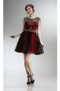 Modern Cap Sleeve Open Back Short Red Satin Black Tulle Prom Dress