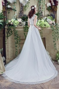 Modest A Line V Neck Full Back Tulle Lace Applique Wedding Dress With Crystals Sash