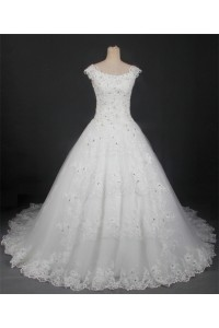 Modest Ball Gown Boat Neck Cap Sleeve Lace Beaded Wedding Dress