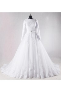 Modest Ball Gown High Neck Full Back Long Sleeve Lace Beaded Wedding Dress With Sash