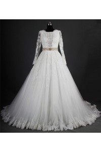 Modest Ball Gown Long Sleeve Tulle Lace Crystal Beaded Wedding Dress Corset Back