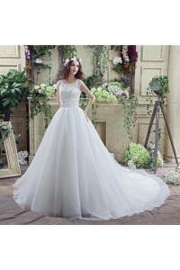 Modest Ball Gown Scalloped Neck Cap Sleeve Organza Lace Wedding Dress