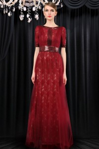 Modest High Neck Full Back Long Burgundy Tulle Lace Evening Dress With Sleeves