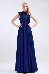 Modest High Neck Royal Blue Chiffon Ruffled Formal Evening Dress With Collar Buttons
