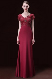 Modest Mermaid V Neck Burgundy Satin Lace Beaded Formal Evening Dress With Sleeves