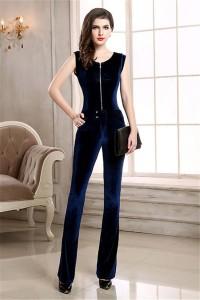 Modest Scoop Neck Navy Blue Velvet Winter Formal Occasion Evening Jumpsuit