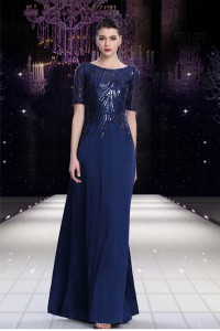 Modest Sheath Bateau Neck Long Navy Blue Chiffon Sequined Evening Dress With Sleeves