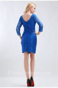 Modest Square Neck Short Royal Blue Lace Evening Occasion Dress With Sleeves