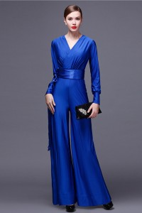 Modest V Neck Long Sleeve Royal Blue Jersey Formal Occasion Jumpsuit With Sash