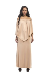 Off The Shoulder Maxi Khaki Jersey Dress With Cape