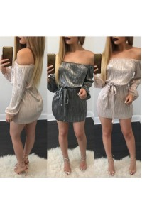 Off The Shoulder Shinning Mini Casual Club Dress With Sleeves