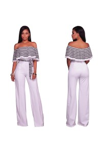 Off The Shoulder Wide Legged Pants Striped Women Jumpsuit With Sash