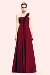 One Shoulder Empire Waist Long Burgundy Chiffon Bridesmaid Dress Corset Back