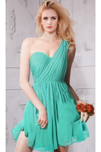 One Shoulder Short Mint Green Chiffon Ruched Bridesmaid Party Dress