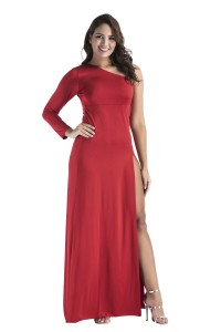 One Shoulder Sleeve High Slit Long Red Stretch Plus Size Club Dress