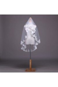One Tier Tulle Lace Beaded Wedding Bridal Fingertip Veil