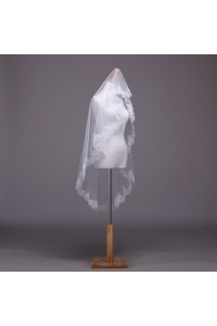 One Tier Tulle Lace Beaded Wedding Bridal Fingertip Walking Veil