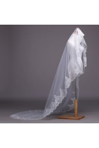 One Tier Tulle Lace Sequin Edge Wedding Bridal Cathedral Veil