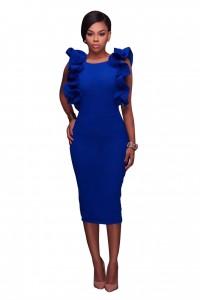 Open Back Tea Length Royal Blue Ruffle Pencil Skirt Dress