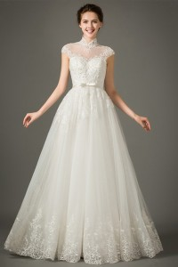 Princess A Line High Neck Collar Cap Sleeve Tulle Lace Wedding Dress Bow Belt