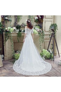 Off The Shoulder Short Lace Sleeve Corset Wedding Dress With Train