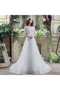 Princess A Line Off The Shoulder Short Lace Sleeve Corset Wedding Dress Bow Belt