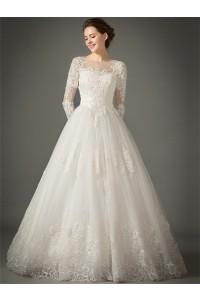 Princess A Line Sheer Neckline Tulle Lace Sleeve Wedding Dress No Train