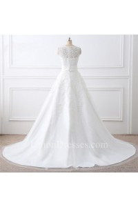 Princess A Line Sleeveless Tulle Lace Wedding Dress With Detachable Skirt