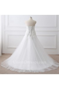 Princess A Line Sweetheart Corset Tulle Lace Plus Size Women Wedding Dress