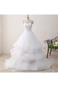 Princess Ball Gown Sweetheart Tulle Ruffle Layered Wedding Dress