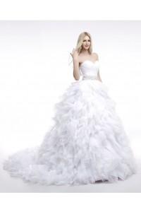 Princess Ball Gown Sweetheart Tulle Ruffle Wedding Dress With Beading Sash