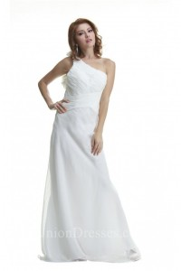 Princess One Shoulder Open Back White Chiffon Ruched Beach Wedding Dress