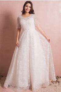 Princess Scoop Neck Short Sleeve Lace Plus Size Wedding Dress No Train