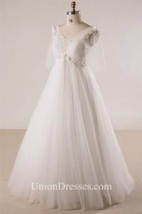 Princess V Neck Empire Waist Tulle Sleeve Plus Size Wedding Dress No Train