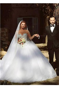 Puffy Ball Gown Illusion Neckline Long Sleeve Tulle Crystal Wedding Dress Corset Back